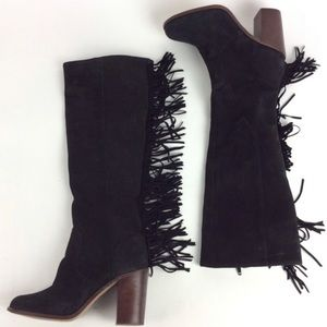 Gianni Bini fringe Back Drop suede heeled boots